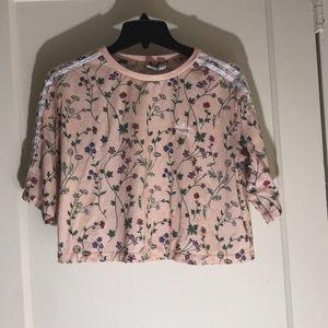 Adidas floral crop top